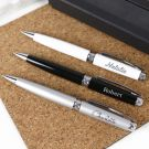 Personalised Engraved Silver, Black and White Premium Pens
