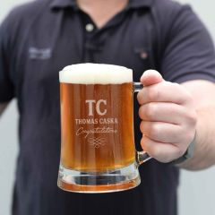 Personalised Engraved Corporate Retirement, Graduation Appreciation 500ml Beer Mug Glass