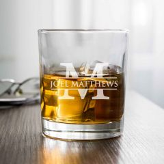Personalised Engraved Round Scotch Whiskey 305ml Glass Retirement, Appreciation and Graduation Gift