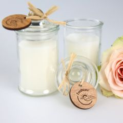 Promotional Jasmine Candle with Engraved Wooden Gift Tag