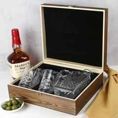 Personalised Engraved Wooden Gift Boxed Old Fashioned Decanter, Glasses & Stone Set