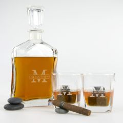 Custom Laser Engraved decanter and matching scotch glasses Birthday  Present