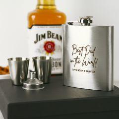 Engraved hip flask set