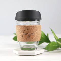 Personalised Name Engraved Glass Coffee Keepsake Cup With Cork Band and Silicon Lid