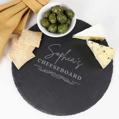 Personalised Laser Engraved Round Slate Cheese Serving Board